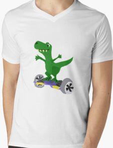 Funny Cool T-Rex Dinosaur on Motorized Skateboard Mens V-Neck T-Shirt