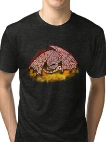 Typographic Smaug, on his pile of gold Tri-blend T-Shirt