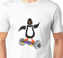 Funny Cool Penguin on Hoverboard Motorized Skateboard Unisex T-Shirt