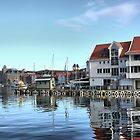 Bergen Harbour -- Reflections .1 by Larry Lingard-Davis