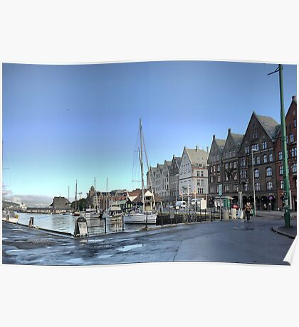 Bergen Harbour -- The Morning Coolness Poster