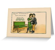 Cute Victorian romantic couple in love Greeting Card