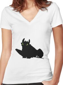 toothless (larger). Women's Fitted V-Neck T-Shirt