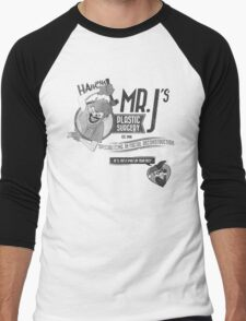 Mr. J's Plastic Surgery ( Black & White ) Men's Baseball ¾ T-Shirt