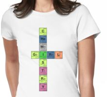 CHEMISTRY GIRL - Periodic Elements Scramble!  Womens Fitted T-Shirt