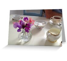 Tea time in Ireland, flowers and china Greeting Card
