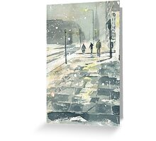 Winter Evening, Crossing Thistle Street Greeting Card