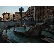Rome's Fabulous Fountains - Fontana della Barcaccia at the Spanish Steps, Early Morning Photographic Print