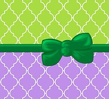 Ribbon, Bow, Moroccan Trellis - Green White Purple by sitnica