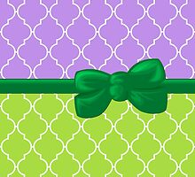Ribbon and Bow, Moroccan Trellis Purple White Green by sitnica