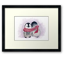 Penguin Cuddle Framed Print