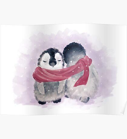 Penguin Cuddle Poster