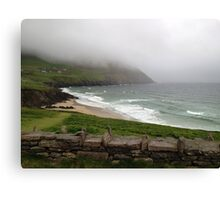 Mist over the mountains at Coomeenole Beach, Kerry, Ireland Canvas Print