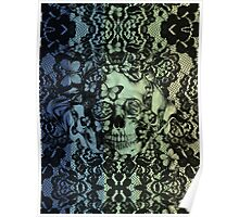 Navy fade Victorian Lace Skull Poster
