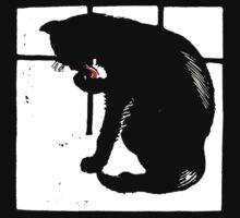 Victorian Woodcut Black Cat Kids Tee