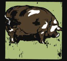 Victorian Woodcut Pig or Hog Kids Tee
