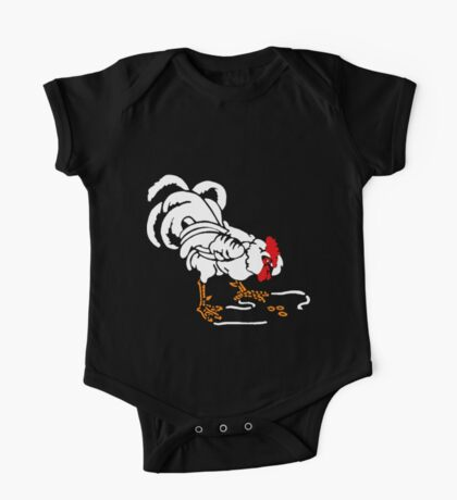 Victorian Woodcut White Rooster One Piece - Short Sleeve