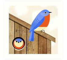 blue bird house Art Print
