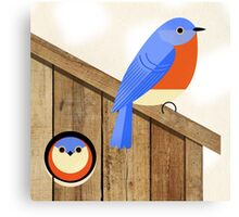 blue bird house Canvas Print