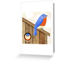 blue bird house Greeting Card