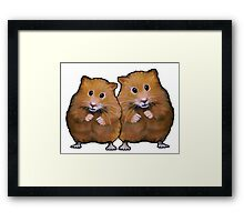 Hamster Couple, Cute Whimsical Art, Two Hamsters Framed Print
