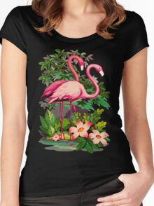 Retro Pink Flamingos Women's Fitted Scoop T-Shirt