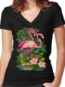 Retro Pink Flamingos Women's Fitted V-Neck T-Shirt