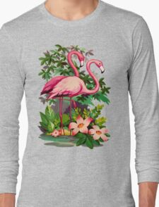 Retro Pink Flamingos Long Sleeve T-Shirt