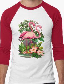 Retro Pink Flamingos Men's Baseball ¾ T-Shirt