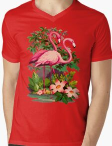 Retro Pink Flamingos Mens V-Neck T-Shirt