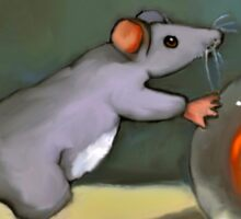 Mouse Pushing a Large Glass Marble Sticker