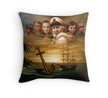 Map captain and five children Throw Pillow