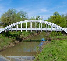 Rainbow Curve Bridge with Route 66 Shield, Riverton, KS by swtrekker