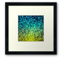 OMBRE LOVE Colorful Midnight Blue Lime Green Citrine Galaxy Print Space Painting Framed Print