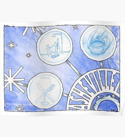 Asheville Snowflake Poster