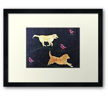 Golden Retrievers.  Print of Embroidered Textile Framed Print