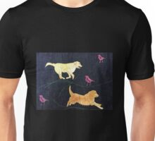 Golden Retrievers.  Print of Embroidered Textile Unisex T-Shirt