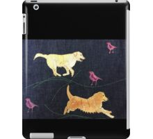 Golden Retrievers.  Print of Embroidered Textile iPad Case/Skin
