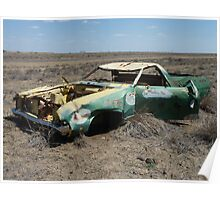 Old wreck marks road junction (Kennedy Developmental Road, QLD) Poster