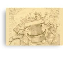 Ankylosaur Sledding Canvas Print