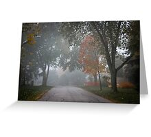 Fall road with trees in fog Greeting Card