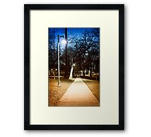 Park path at night Framed Print