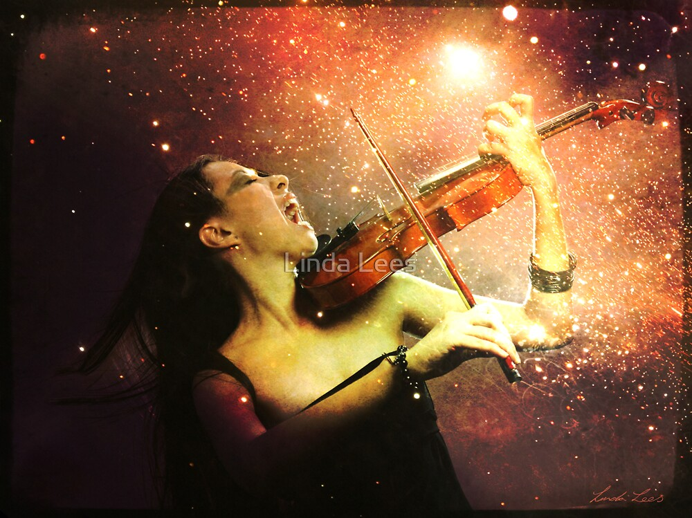 Music explodes in the night by Linda Lees