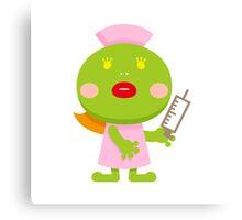 Frog blonde nurse and syringe Canvas Print