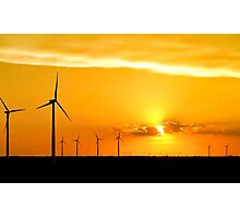 Wind Farm at Sunset Photographic Print