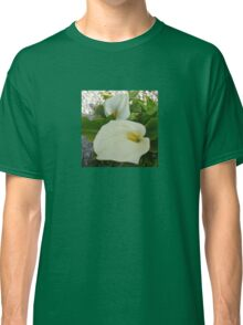 Overhead View Of Two Calla Lilies In A Garden Classic T-Shirt