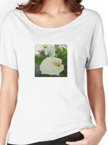 Overhead View Of Two Calla Lilies In A Garden Women's Relaxed Fit T-Shirt