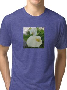 Overhead View Of Two Calla Lilies In A Garden Tri-blend T-Shirt