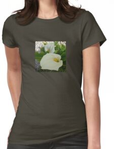 Overhead View Of Two Calla Lilies In A Garden Womens Fitted T-Shirt