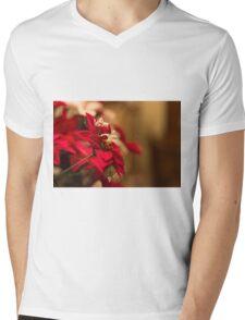 Poinsettia Mens V-Neck T-Shirt